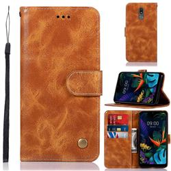 Luxury Retro Leather Wallet Case for LG K40 (LG K12+, LG K12 Plus) - Golden