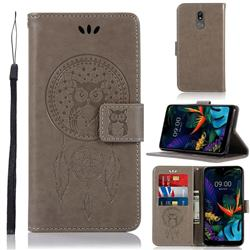 Intricate Embossing Owl Campanula Leather Wallet Case for LG K40 (LG K12+, LG K12 Plus) - Grey