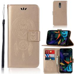 Intricate Embossing Owl Campanula Leather Wallet Case for LG K40 (LG K12+, LG K12 Plus) - Champagne