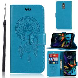 Intricate Embossing Owl Campanula Leather Wallet Case for LG K40 (LG K12+, LG K12 Plus) - Blue