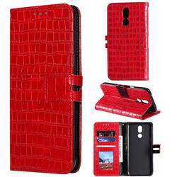 Luxury Crocodile Magnetic Leather Wallet Phone Case for LG K40 (LG K12+, LG K12 Plus) - Red