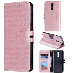 Luxury Crocodile Magnetic Leather Wallet Phone Case for LG K40 (LG K12+, LG K12 Plus) - Rose Gold