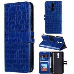 Luxury Crocodile Magnetic Leather Wallet Phone Case for LG K40 (LG K12+, LG K12 Plus) - Blue