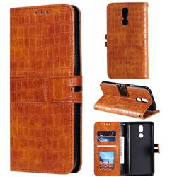 Luxury Crocodile Magnetic Leather Wallet Phone Case for LG K40 (LG K12+, LG K12 Plus) - Brown