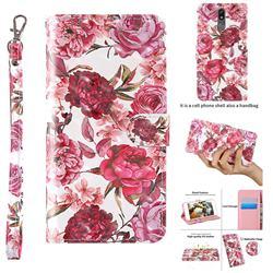 Red Flower 3D Painted Leather Wallet Case for LG K40 (LG K12+, LG K12 Plus)