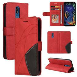 Luxury Two-color Stitching Leather Wallet Case Cover for LG K40 (LG K12+, LG K12 Plus) - Red