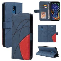 Luxury Two-color Stitching Leather Wallet Case Cover for LG K40 (LG K12+, LG K12 Plus) - Blue
