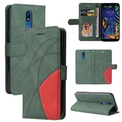 Luxury Two-color Stitching Leather Wallet Case Cover for LG K40 (LG K12+, LG K12 Plus) - Green