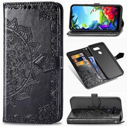 Embossing Imprint Mandala Flower Leather Wallet Case for LG K40S - Black