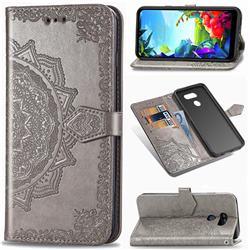 Embossing Imprint Mandala Flower Leather Wallet Case for LG K40S - Gray