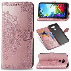 Embossing Imprint Mandala Flower Leather Wallet Case for LG K40S - Rose Gold