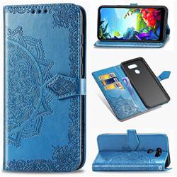 Embossing Imprint Mandala Flower Leather Wallet Case for LG K40S - Blue