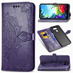 Embossing Imprint Mandala Flower Leather Wallet Case for LG K40S - Purple