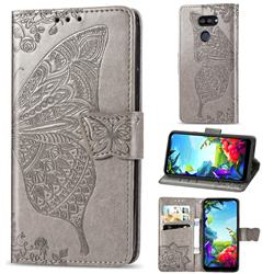 Embossing Mandala Flower Butterfly Leather Wallet Case for LG K40S - Gray