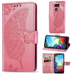 Embossing Mandala Flower Butterfly Leather Wallet Case for LG K40S - Pink