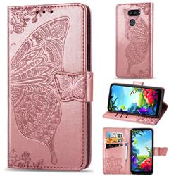 Embossing Mandala Flower Butterfly Leather Wallet Case for LG K40S - Rose Gold