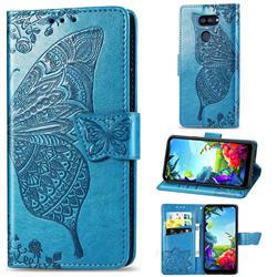 Embossing Mandala Flower Butterfly Leather Wallet Case for LG K40S - Blue