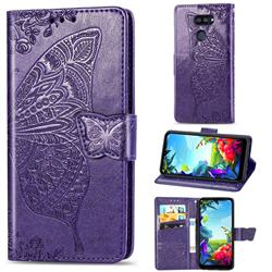 Embossing Mandala Flower Butterfly Leather Wallet Case for LG K40S - Dark Purple