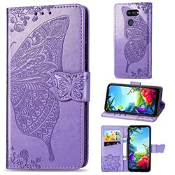 Embossing Mandala Flower Butterfly Leather Wallet Case for LG K40S - Light Purple