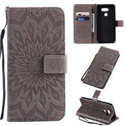Embossing Sunflower Leather Wallet Case for LG K40S - Gray