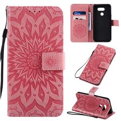 Embossing Sunflower Leather Wallet Case for LG K40S - Pink