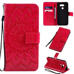 Embossing Sunflower Leather Wallet Case for LG K40S - Red