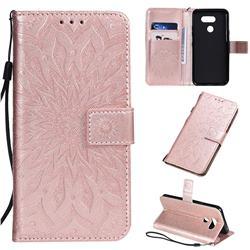 Embossing Sunflower Leather Wallet Case for LG K40S - Rose Gold