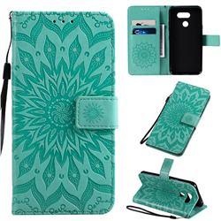 Embossing Sunflower Leather Wallet Case for LG K40S - Green