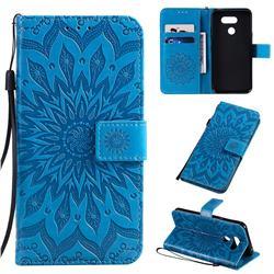 Embossing Sunflower Leather Wallet Case for LG K40S - Blue