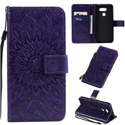 Embossing Sunflower Leather Wallet Case for LG K40S - Purple