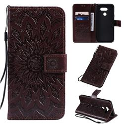 Embossing Sunflower Leather Wallet Case for LG K40S - Brown