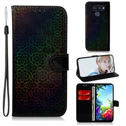 Laser Circle Shining Leather Wallet Phone Case for LG K40S - Black