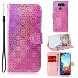 Laser Circle Shining Leather Wallet Phone Case for LG K40S - Pink