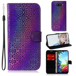 Laser Circle Shining Leather Wallet Phone Case for LG K40S - Purple