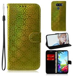 Laser Circle Shining Leather Wallet Phone Case for LG K40S - Golden