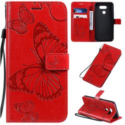 Embossing 3D Butterfly Leather Wallet Case for LG K40S - Red