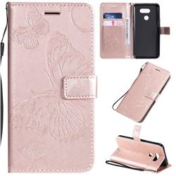 Embossing 3D Butterfly Leather Wallet Case for LG K40S - Rose Gold