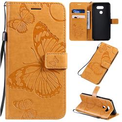Embossing 3D Butterfly Leather Wallet Case for LG K40S - Yellow