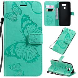 Embossing 3D Butterfly Leather Wallet Case for LG K40S - Green