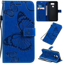 Embossing 3D Butterfly Leather Wallet Case for LG K40S - Blue