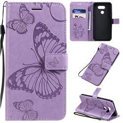 Embossing 3D Butterfly Leather Wallet Case for LG K40S - Purple
