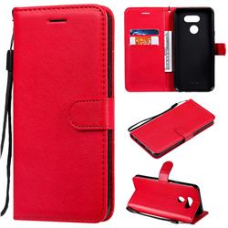 Retro Greek Classic Smooth PU Leather Wallet Phone Case for LG K40S - Red