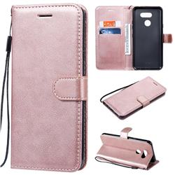Retro Greek Classic Smooth PU Leather Wallet Phone Case for LG K40S - Rose Gold