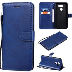 Retro Greek Classic Smooth PU Leather Wallet Phone Case for LG K40S - Blue