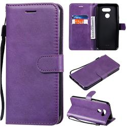 Retro Greek Classic Smooth PU Leather Wallet Phone Case for LG K40S - Purple