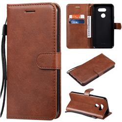 Retro Greek Classic Smooth PU Leather Wallet Phone Case for LG K40S - Brown