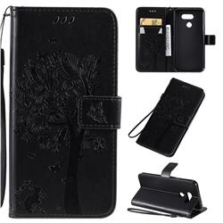 Embossing Butterfly Tree Leather Wallet Case for LG K40S - Black
