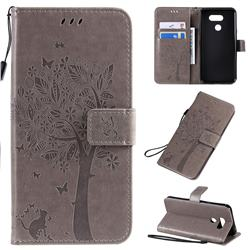 Embossing Butterfly Tree Leather Wallet Case for LG K40S - Grey