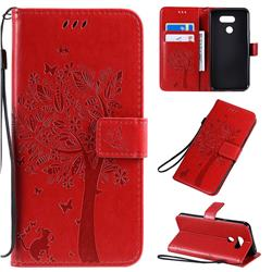 Embossing Butterfly Tree Leather Wallet Case for LG K40S - Red