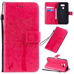 Embossing Butterfly Tree Leather Wallet Case for LG K40S - Rose
